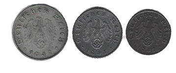 Third Reich Zinc Type Set Coinage
