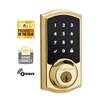 Kwikset - 916TRL - SMT - SmartCode - Zwave - Connected -Touchscreen Electronic Deadbolt - Polished Brass