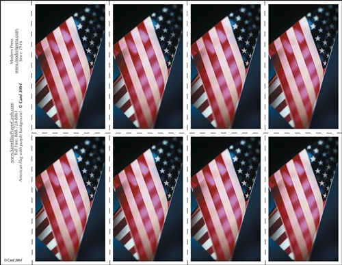 300 F American Flag With Purple Background 8 Up Prayer Card