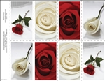 651-r Assorted Red & White Roses 8-Up Prayer Card
