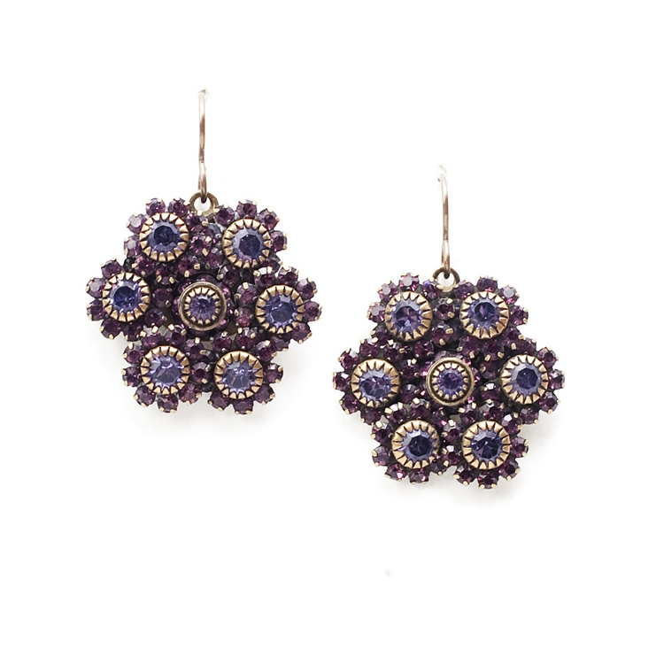 "Beautiful amethyst crystal Love Drop earrings that are sure to get noticed. 1.75"" drop."