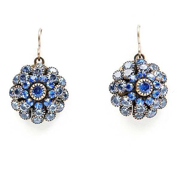 "Beautiful sapphire crystal Love Drop earrings that are sure to get noticed. 1.4"" drop."