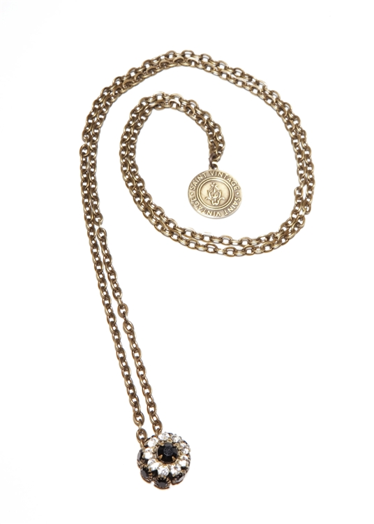 Jet & Snow Crystal Dainty Drops Necklace