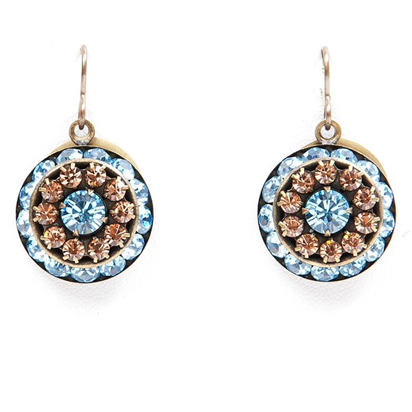 "Beautiful aqua blue and auburn crystal Love Drop earrings that are sure to get noticed. 1.4"" drop."