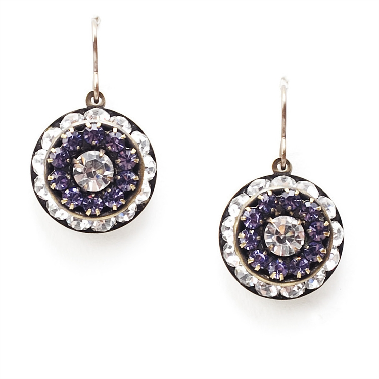 "Beautiful clear and amethyst crystal Love Drop earrings that are sure to get noticed. 1.4"" drop."