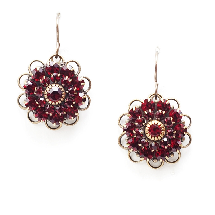 "Beautiful ruby crystal Love Drop earrings that are sure to get noticed. 1.4"" drop."