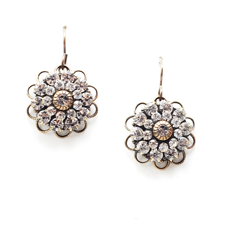 "These earrings burst with beauty and will add the perfect amount of sparkle to your outfit.  1.4"" drop."