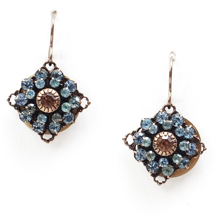 "Beautiful classic blue crystal Love Drop earrings that are sure to get noticed. 1.25"" drop."