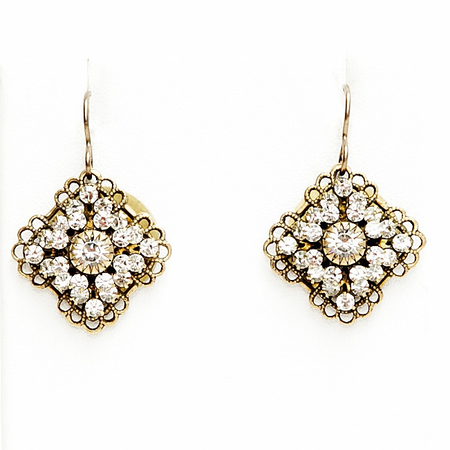 "Our beautiful clear crystal Love Drop earrings with tons of sparkle are sure to get noticed. 1.25"" drop."