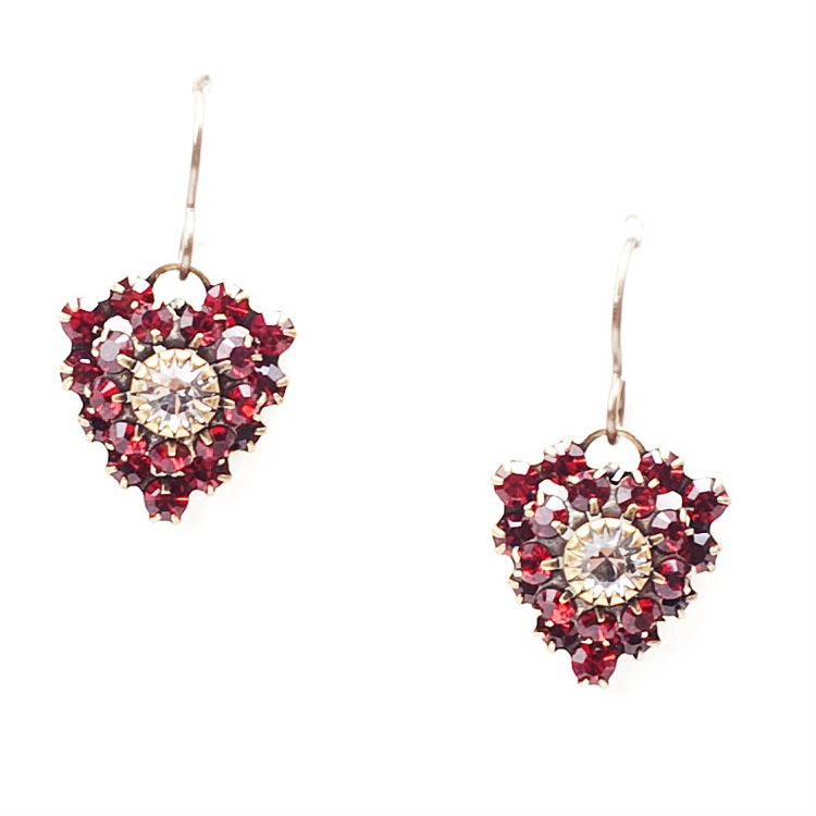 "Ruby crystal heart Love Drop earrings that everyone will love.  1.4"" drop."
