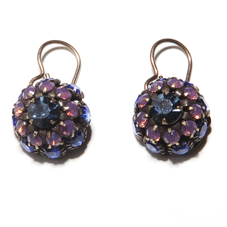 "Beautiful classic blue and lavender Love Drop earrings that are sure to get noticed. 1.4"" drop."