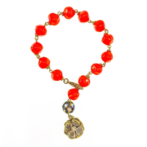 "We have created this one of a kind red Czech glass beaded bracelet for our holiday flash sale.  Only 1 bracelet available!   Bracelet is approximately 7"" in length. Up to 50% of sales will be donated back to Stand Up 2 Cancer! #jewelryforacause #findacure"