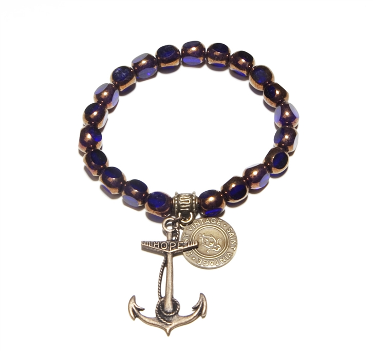 Quintessentially Classic Providence Antique Anchor Love Cures Stretch Bracelet.