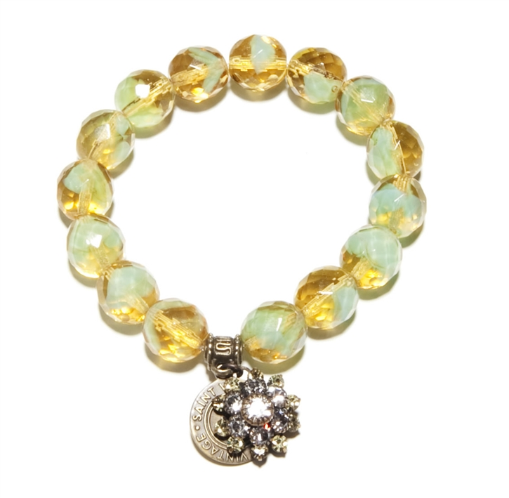 Mint and golden vintage Czech Glass beads with antique Swarovski crystal charm sparkle up joy in this Love Cures stretch bracelet.
