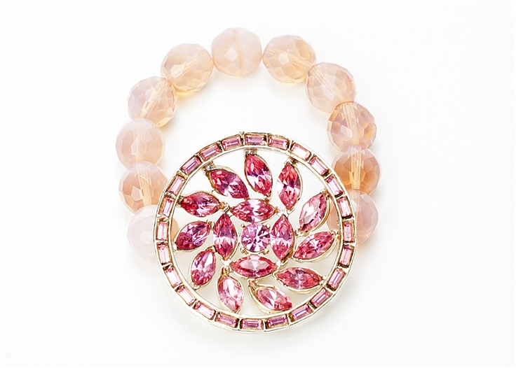 Antique brooch created into a one of a kind stretch bracelet using vintage beads. A truly stunning piece of arm candy from our Wear a Bracelet, Find a Cure Campaign. Support BCA.