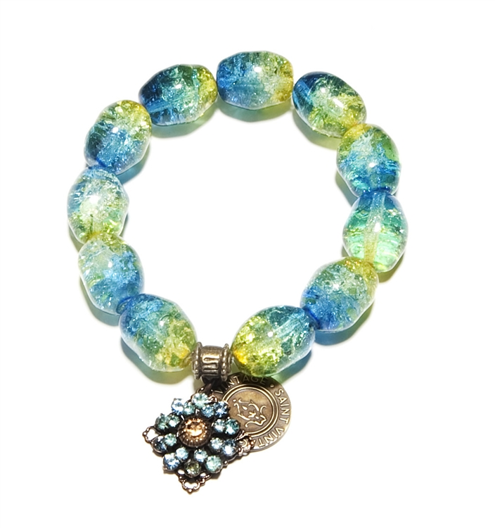 Aquamarine and Peridot Vintage Colored Czech Glass Beads with Swarovski Crystal Charm remind us that we always keep our cool wearing our Love Cures stretch bracelet!