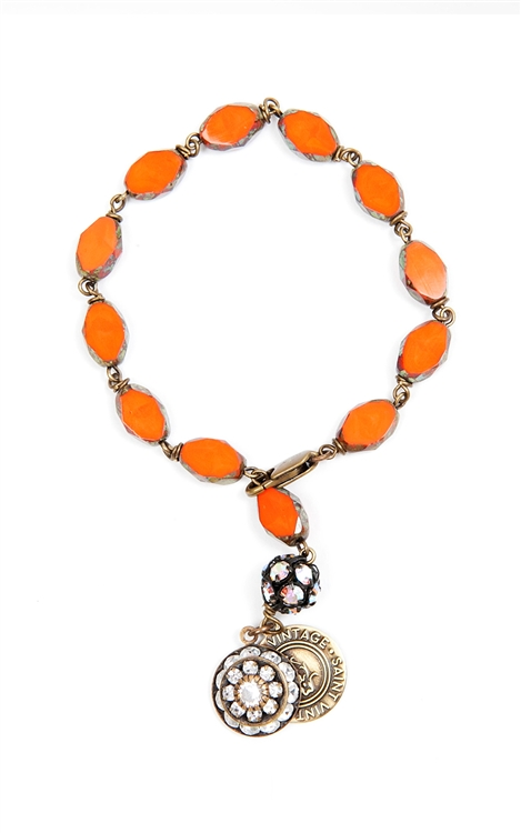 "We have created this golden orange Czech glass beaded bracelet in honor of National Kidney Cancer Awareness month. Only available for the month of March. 7"" in length. 50% of sales will be donated back to Stand Up 2 Cancer! #jewelryforacause #findacure"