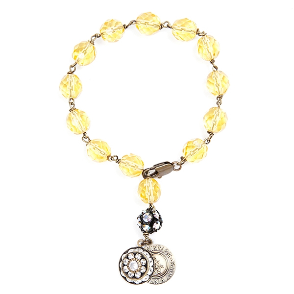 "We have created this gold Czech glass beaded bracelet in support of Childhood Cancer Awareness month. Only available for the month of September.  Bracelet is approximately 7"" in length.50% of sales will be donated back to Stand Up 2 Cancer! #jewelryforaca"