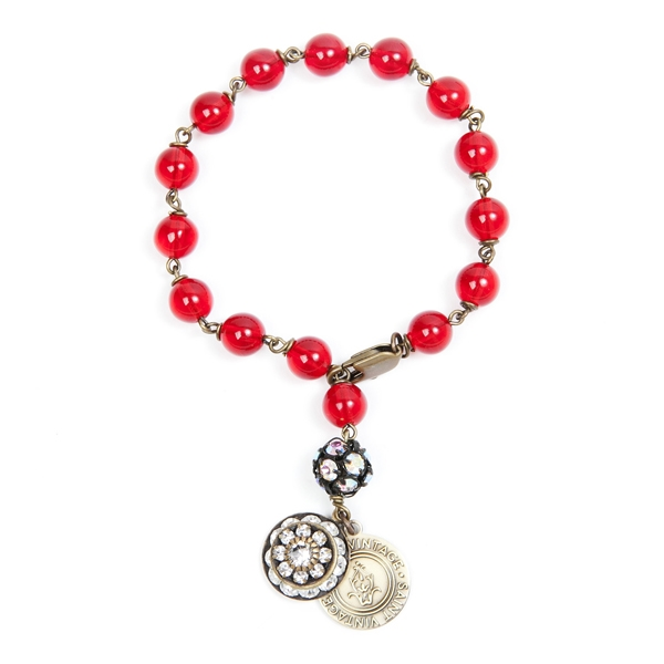 "Paige created this red Czech glass beaded bracelet to honor everyone affected by cancer because no one fights alone. They all matter! Only available for the month of December.  Bracelet is approximately 7"" in length. 50% of sales will be donated back to S"