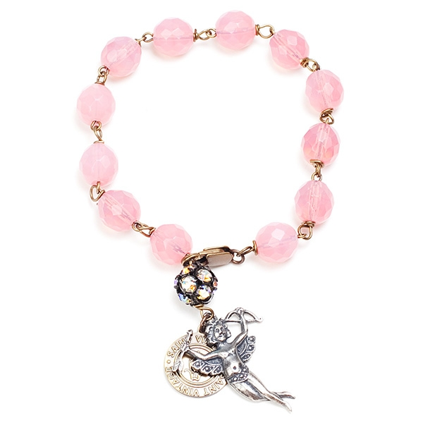 "Our pretty in pink bracelet features an angel perfect for any season. 7""in length."