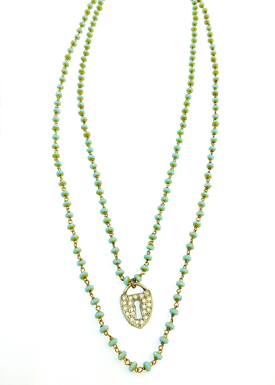 "We have created this one of a kind turquoise Czech glass beaded necklace for our holiday flash sale.  Only 1 necklace  available!   Bracelet is approximately 39"" in length. Up to 50% of sales will be donated back to Stand Up 2 Cancer! #jewelryforacause"