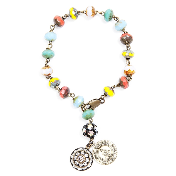 "Paige created this multi-colored Czech glass beaded bracelet to honor everyone affected by cancer because no one fights alone. They all matter!  Bracelet is approximately 7"" in length. 50% of sales will be donated back to Stand Up 2 Cancer! #jewelryforaca"