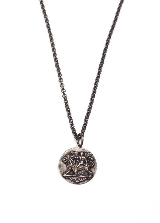 Lions & Cupids unite in our reclaimed vintage brass pendant necklace. 18""