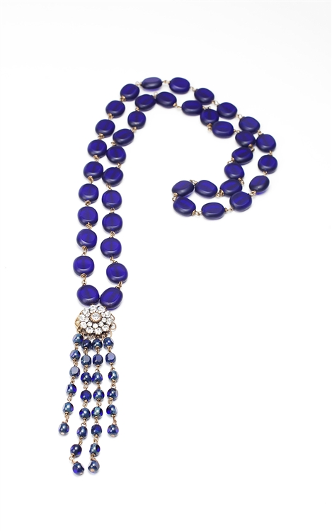 "Ocean blue Czech glass beads with the perfect amount of dangle give us our Nantucket Love tassel necklace. 21"" in length. 50% of sales will be donated back to Stand Up 2 Cancer! #jewelryforacause #findacure"