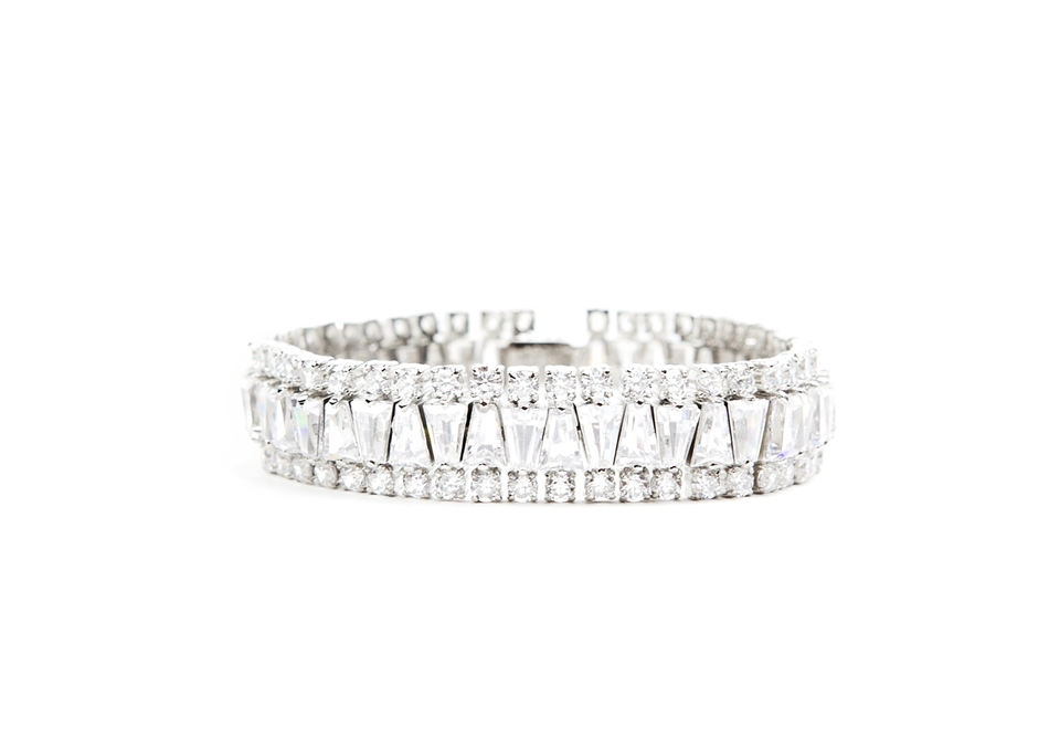 and baguette round bracelets collection diamond bracelet platinum gemlok classic