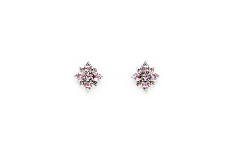 Pink and Clear crystal are set into our SV Couture starburst earrings. Post earrings for pierced ears. #jewelryforacause