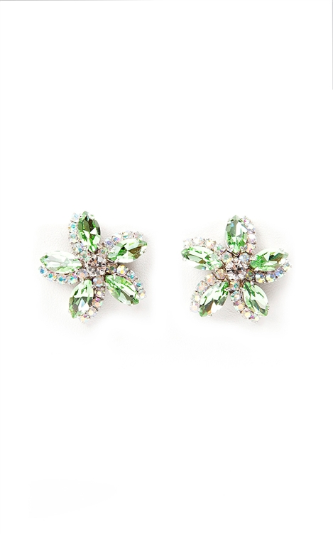 Our SV Couture earrings feature peridot and clear crystal in a pretty floral design.  These earrings are the perfect way to bring spring into any season. Post earrings for pierced ears. 50% of sales will be donated to Stand Up 2 Cancer.  #jewelryforacause