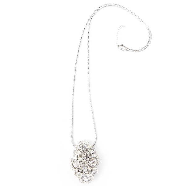 "Our clear crystal clip necklace with is set in rhodium plated brass.  This necklace can be worn on a chain, on a handbag or as a scarf clip.  The clip pendant comes with 30"" chain with 2"" extender. #jewelryforacause #findacure"