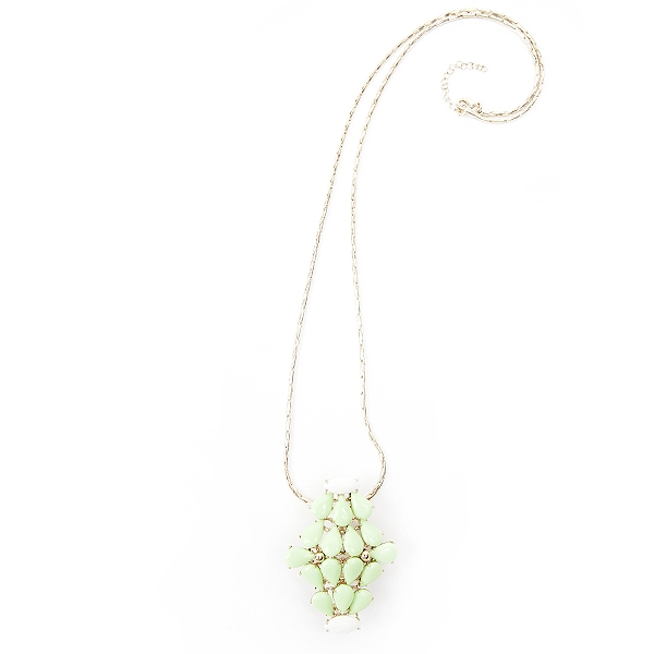 "Our green and white clip necklace with an antique brass finish.  This necklace can be worn on a chain, on a handbag or as a scarf clip.  The clip pendant comes with 30"" chain with 2"" extender. #jewelryforacause #findacure"