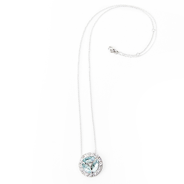 "Make a statement with our antique inspired aquamarine and clear crystal necklace.  Necklace is 18"" in length with 2"" extender. #jewelryforacause #findacure"