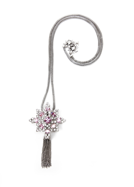 "Pink and Clear crystal are set into our SV Couture starburst tassel necklace. Tassel and chain are removable. 32"" necklace. #jewelryforacause"