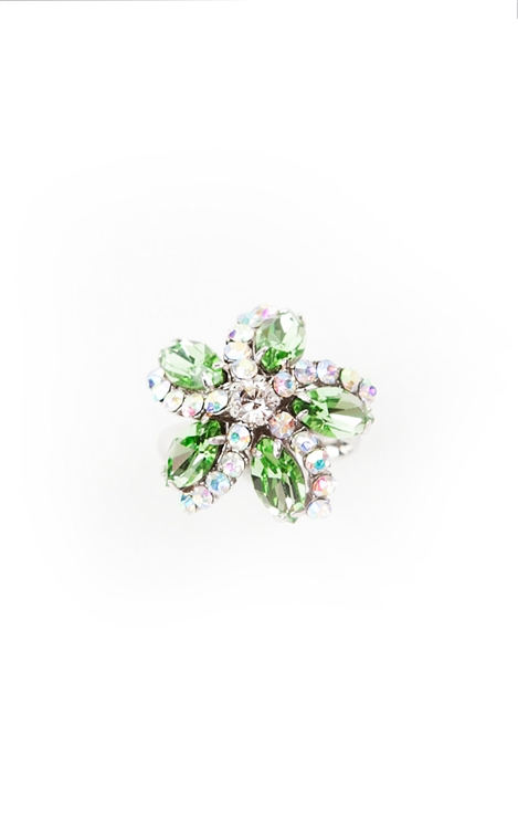 Our SV Couture ring features peridot and clear crystal in a pretty floral design.  This ring is the perfect way to bring spring into any season.  Size: Adjustable. 50% of sales will be donated to Stand Up 2 Cancer.  #jewelryforacause