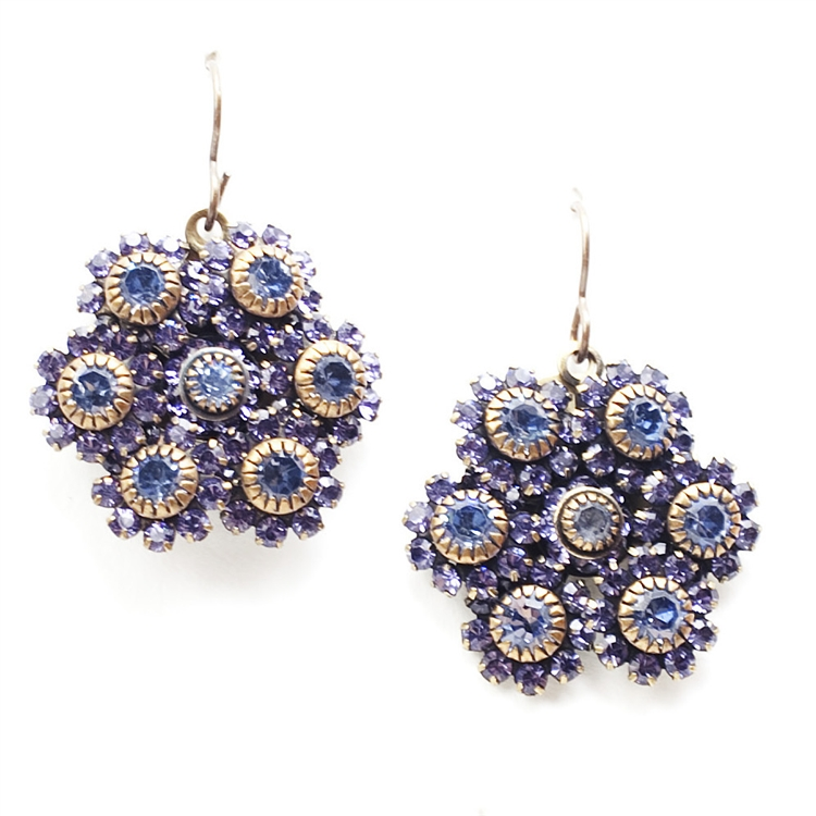 "Beautiful classic blue crystal Love Drop earrings that are sure to get noticed.  Perfect for your something borrowed, something blue. 1.75"" drop."