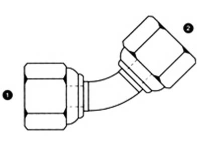 9053 Fittings: Female BSPP Swivels 45 degree Elbow   British