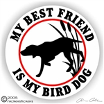 Best Friend Bird Dog Gun Dog Static Cling Sticker Decal