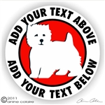 Custom West Highland White Terrier Dog Car Window Decal iPad Sticker