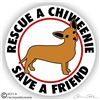 Rescue a Chiweenie Dog Vinyl iPad Car Truck RV Window Decal Sticker Static Cling