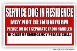 Custom Service Dog in Residence In Case of Emergency Dog Door Decal sticker