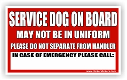 Custom Service Dog on Board In Case of Emergency Dog Door Decal sticker