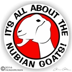 Nubian Goat Head Decal Sticker Static Cling