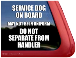 Service Dog on Board Car Truck RV Window Decal Sticker