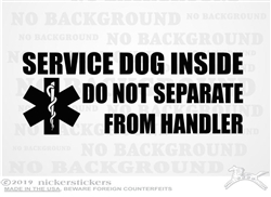 Service Dog Inside V Car Truck RV Window Decal Sticker