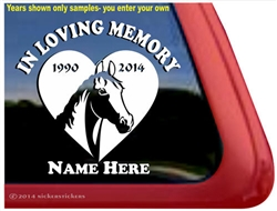 Custom Memorial Horse Heart Love Head Car Truck RV Window iPad Trailer Decal Sticker