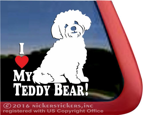 I Love My Teddy Bear Dog Decals Amp Stickers Nickerstickers