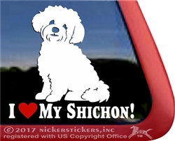 I Love My Teddy Bear Shichon Zuchon Dog Car Truck RV Window Decal Sticker