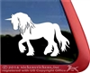 Unicorn Draft Horse Trailer Window Decal